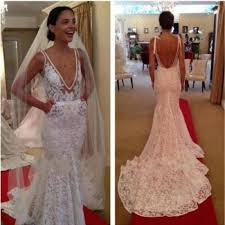 2016 lace mermaid wedding dresses sheer deep v neck backless