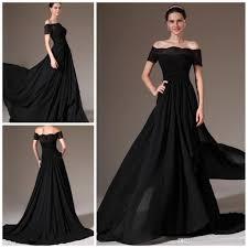 2014 new arrival black long evening dress off the shoulder a line