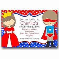 10 personalised birthday invitations princess and superhero fancy