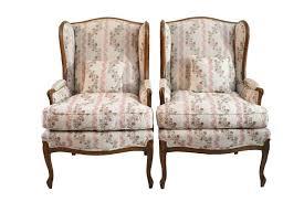 Velvet Wingback Chair Floral U0026 Purple Velvet Wingback Chairs A Pair Chairish