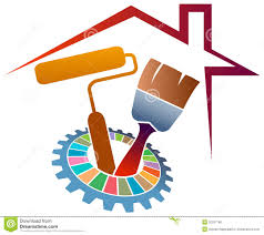 painting home home painting logo stock vector image 50337168
