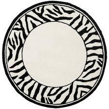 safavieh hand hooked zebra border white black wool rug 3 u0027 round