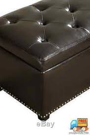 faux leather ottoman modern storage bench seat footrest shoe footstool