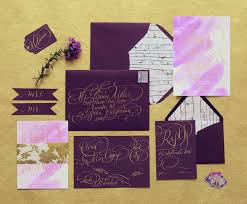 purple and gold wedding invitations an gold and fig fall wedding in the woods kate aspen