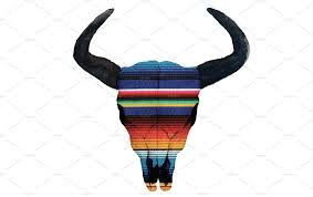 serape cow skull png objects creative market