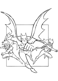 color in this superheroes batman robin and batgirl coloring page