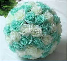 teal roses flower pomander wedding decoration silk