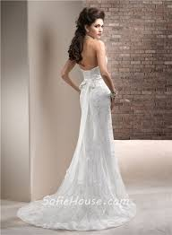 fitted wedding dresses fitted sheath strapless lace wedding dress with swarovski crystals
