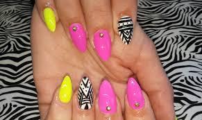 acrylic nails l neon yellow u0026 pink abstract l nail design youtube