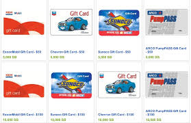 gasoline gift cards free gas from chevron exxon mobile arco or sunoco freebies2deals