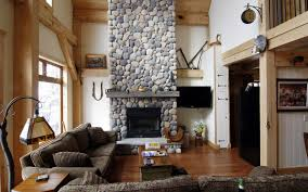 high ceiling design with wooden house interior structure and stone