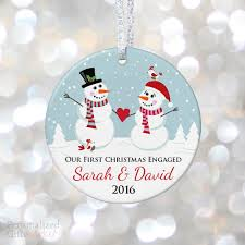 snowman engagement personalized ornament personalized gift market