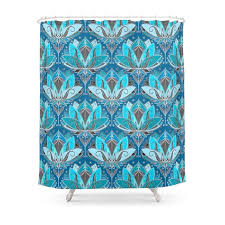 Turquoise Shower Curtains Deco Lotus Rising Black Teal Turquoise Pattern Shower