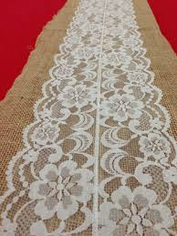 ivory lace table runner burlap tablerunner white lace country shabby chic vintage or