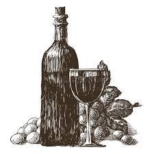 wine bottle vector logo design template wineglass stock vector