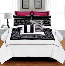 bedroom black and white and red bedding large carpet wall