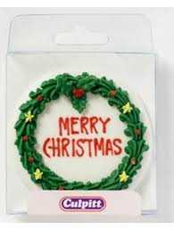 Christmas Cake Decorations With Royal Icing by Round Royal Icing Christmas Wreath Plaque Cake Decoration The