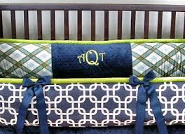 lime green and navy baby bedding for the nursery room