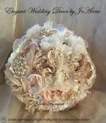 vintage fabric bouquet custom fabric and lace elegant bridal