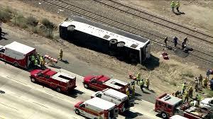 Wildfire Casino On Sunset by Charter Bus To Casino Overturns On 210 Freeway 52 Hurt Ktla