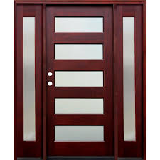 wood front door pacific entries 66 in x 80 in 5 lite mistlite stained mahogany
