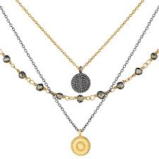 strand necklace images Gunmetal gold pyrite celestial triple strand necklace satya jpg