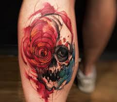 back leg watercolor skull tattoo golfian com