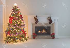 fireplace view christmas tree by the fireplace home design
