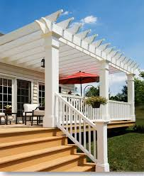 White Vinyl Pergola Kits by Vinyl Pergolas Attached To House This White Vinyl Pergola Kit