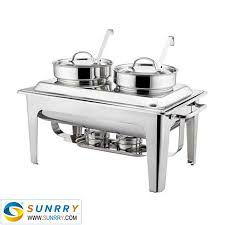 sy bu106 rectangular roll top chafing dish set 8l double soup