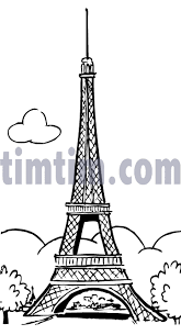 free drawing of eiffel tower bw from the category holidays tourism