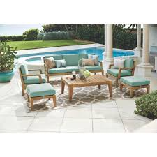 home decorators collection bermuda 6 piece all weather eucalyptus home decorators collection bermuda 6 piece all weather eucalyptus wood patio seating set with spa blue fabric 7633810340 the home depot