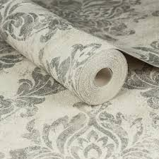 B Q Bedroom Wallpaper Graham U0026 Brown Boutique Cream U0026 Silver Damask Wallpaper
