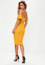 yellow dress yellow bardot bodycon midi dress missguided