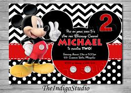 mickey mouse 2nd birthday invite card age two personalized
