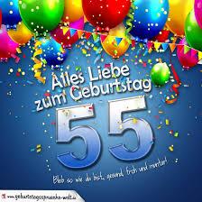 sprüche zum 55 geburtstag geburtstagskarte mit bunten ballons konfetti und luftschlangen zum