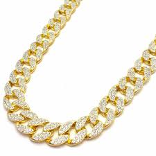 crystal link necklace images Uwin iced out bling rhinestone crystal goldgen finish miami cuban jpg
