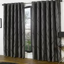 Silver Black Curtains Deco Style Curtains Black Silver Lined Eyelet Ring Ideal