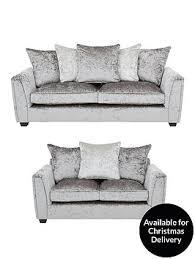 Sofa Buy Uk Glitz 3 Seater 2 Seater Fabric Sofa Set Buy And Save Very Co Uk