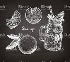 chalk sketch of orange stock vector art 827741214 istock