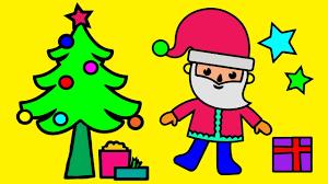santa claus christmas tree coloring book children