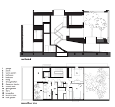 section and ground floor plan optical glass house by hiroshi