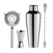 oggi stainless steel cocktail shaker and bar tool set 4 piece