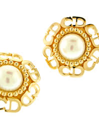 cd earrings christian vintage cd logo pearl earrings from amarcord