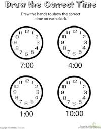 analog clocks draw the time worksheets kindergarten and