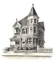 Victorian Home Design by House Drawings Colored Pencl House Portrait Drawings Design