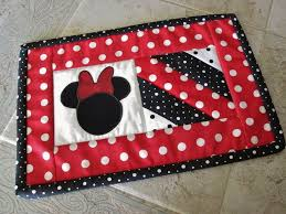 Micky Mouse Rug Red Black Mickey Mouse Quilted String Quilt Candle Mat Mug Rug