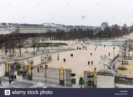 aerial view of tuileries garden and the louvre museum in winter