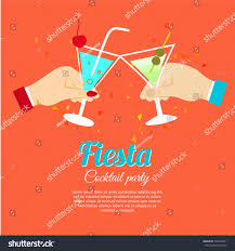 pink martini poster cocktail party fiesta two hands holding stock vector 197440451