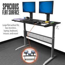 Flat Computer Desk Tranzendesk Standing Desk 55 Inch Size Blacksilver Manual Sit Stand Steady Trflmn55blsv 224 Jpg V 1520438426
